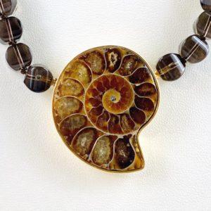 Ammonith Anhänger, Versteinerung Muschel, Wechselschliesse , Rauchquarzkette