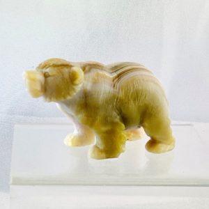 Bär, Eisbär, Tierfigur, Figur aus Stein, Achat, Handarbeit