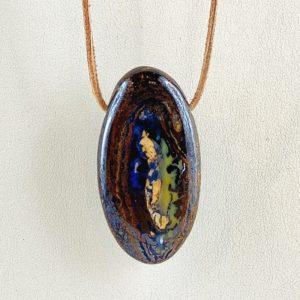 Boulderopal, Opal im Muttergestein, Australien, gebohrter Stein, Steinanhänger,