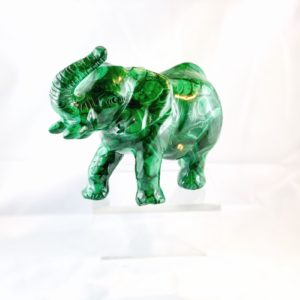 Elefant, Malachit, Handgravur, Edelsteintier, Steinfigur