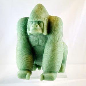 Gorilla, Affe, Steinfigur, Tier aus Stein, Aventurin