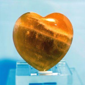 Herz, Handschmeichler, gelber Calcit
