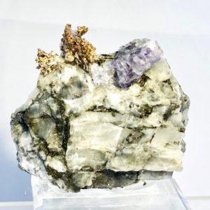 Silber mit Fluorit auf Calcit, Buskerud Prov. Kongsberg, Norwegen