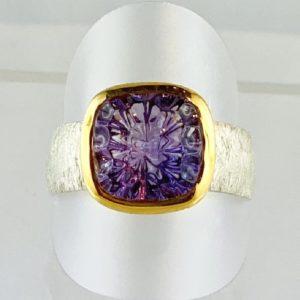 Amethyst Lasercut Ring Silber
