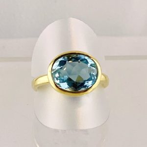 Aquamarin Ring, facettiert, Gold, Handarbeit, super Schliff, super Farbe