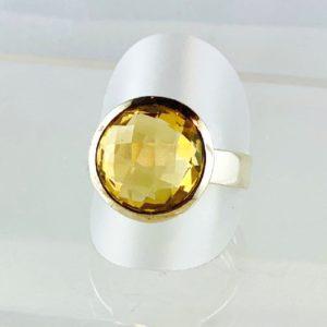 Citrin Ring, Schachbrettmuster Schliff, Silber