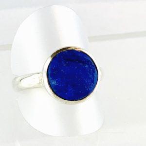 Lapis Lazuli Ring Silber Handarbeit, ungeschliffen, naturbelassen