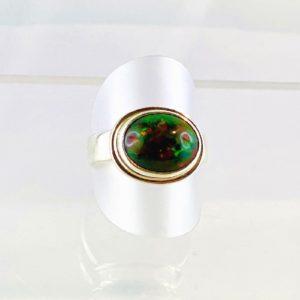 Opal, Schwarzopal, schwarzer Opal Ring Silber