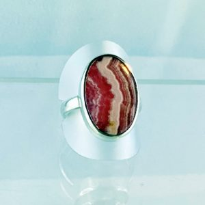 Rhodochrosit Ring, Silber