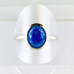 Saphier, Safir Ring Cabochon, Silber