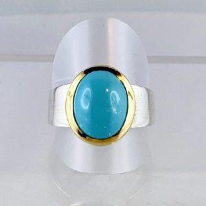 Türkis Ring Arizona, Silber mattiert, Gold